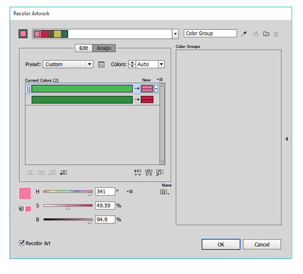 Use the Recolor Art panel to make changes to your objects gradients quickly and easily