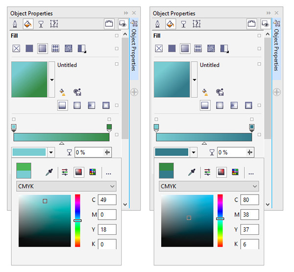 Change the fountain fill colors in corelDRAW