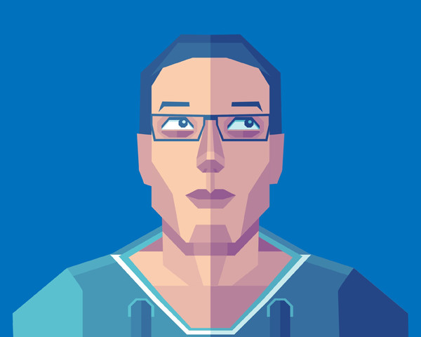 Joshua Kipper shared his self portrait from a geometric illustration tutorial by Beto Garza