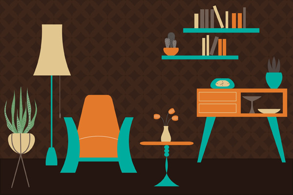 User lukovka shared their own version of a retro room vector illustration from a tutorial by Nataliya Dolotko