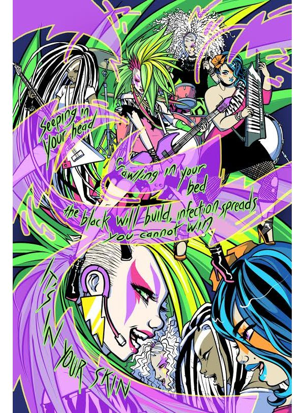 Page from Jem and the Holograms with Pencils by Sophie Campbell and Color by Mara Victoria Robado