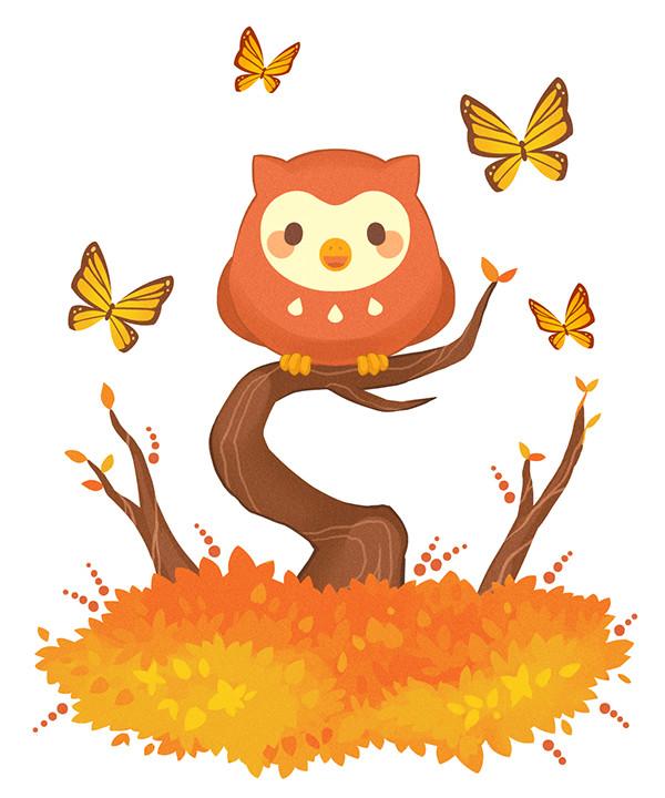 Seahorse Owl Kitten Illustration
