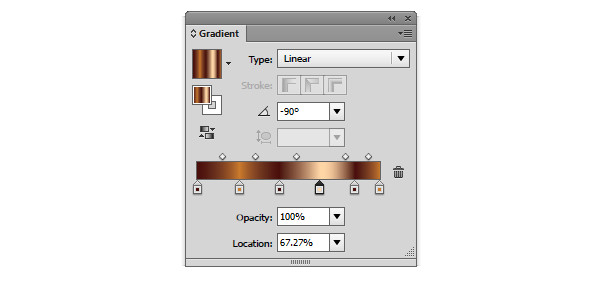 Open the gradient panel to edit gradients
