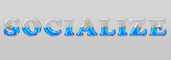 User Brigitte shared her own fun take on a liquid filled glass text effect tutorial by Rose