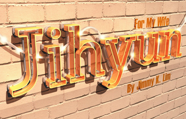 User Zephyrbreeze shared their sweet result from a 3D text effect tutorial by Rose