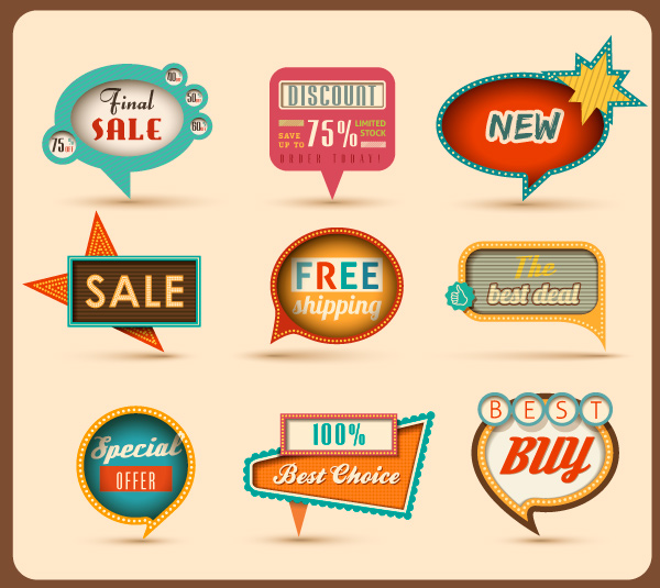 Retro Speech Bubble Icons