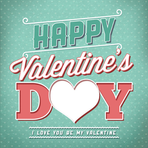 Retro Valentines Typography Cards