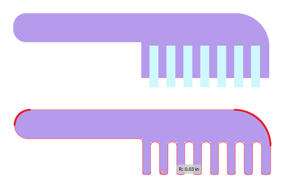 Delete rectangles from the comb shape and round out its corners