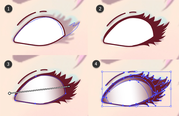 Draw the right eye