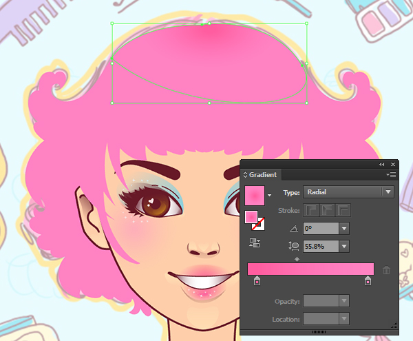 Use gradients to show depth in the hair