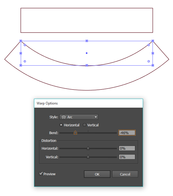 Bend a rectangle to create a banner shape
