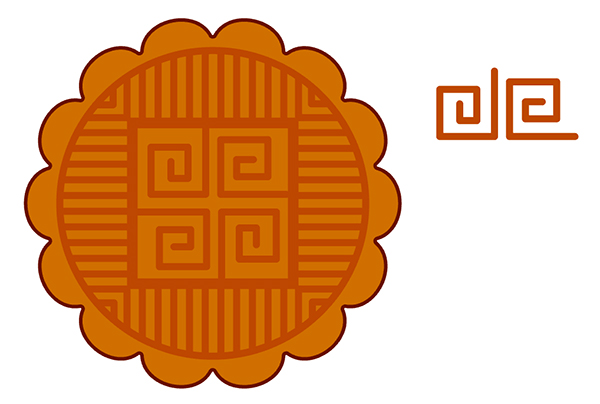 Draw angled spirals in the center of the mooncake