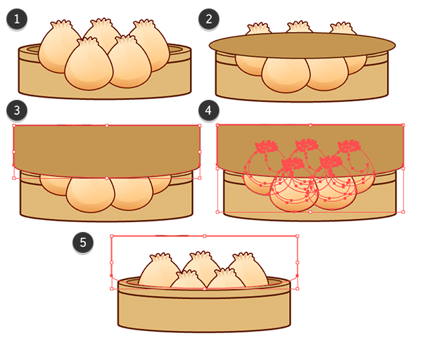 Create a clipping mask to fit the steamed buns into the steamer design