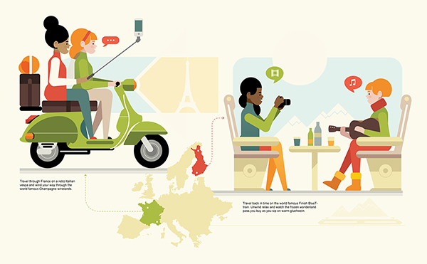 Euro travel illustration