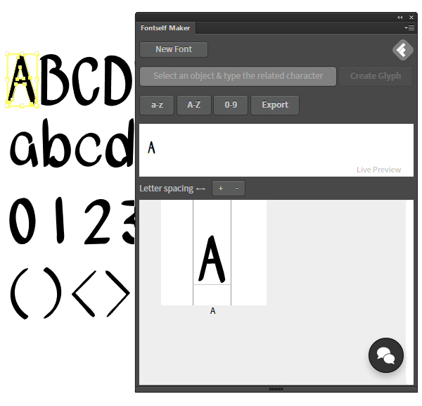 Add glyphs to the fontself maker panel