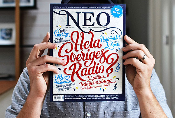 Hand-drawn typographic cover for Magasinet NEO