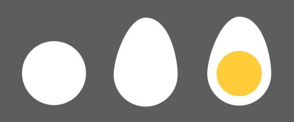 Draw circles and ovals to create a hard boiled egg