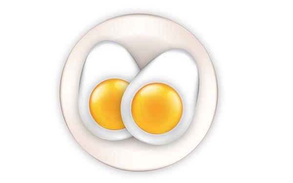 Lengkapi telur di atas ikon piring