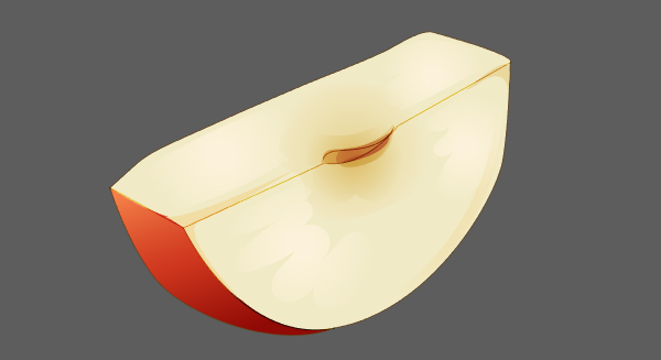 Further render the apple slice by layering brown shadow shapes onto the core of the apple slice and in the corners of the apple slice