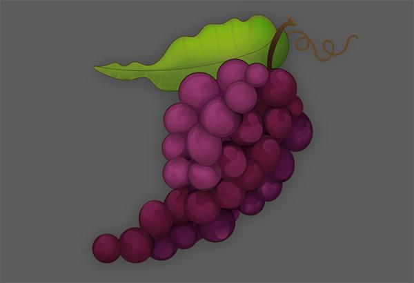 Selesaikan desain anggur dengan batang coklat dan garis besar daun dan buah anggur dengan jalur ayakan seberat 05 pt