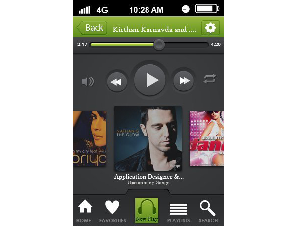 Somanna KK shared their result from an iPhone music player app design tutorial by Vlade Dimovski