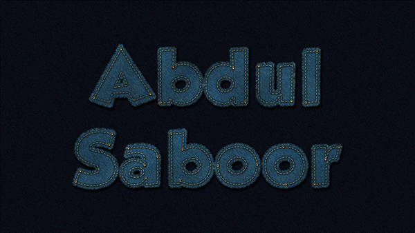 Abdul Saboor shared their personalized result from a denim text effect tutorial by Rose