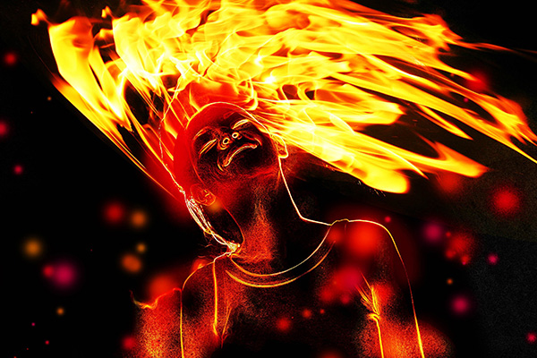 User PeymanTDR commented with their result from a flaming photo manipulation tutorial by Jayan Saputra