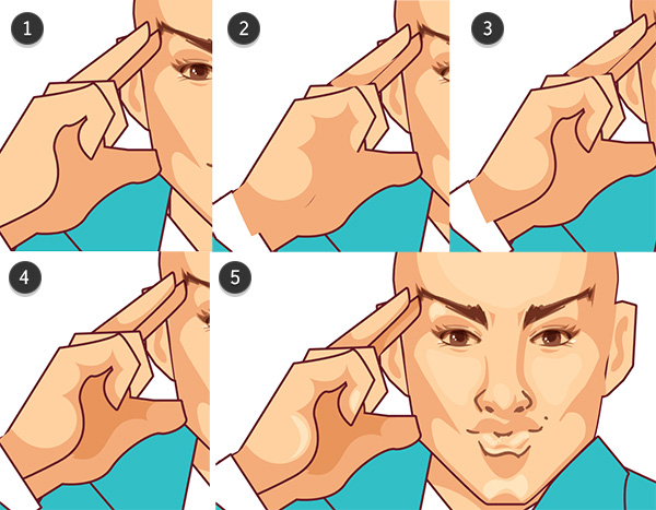 Render the hand and highlight the face