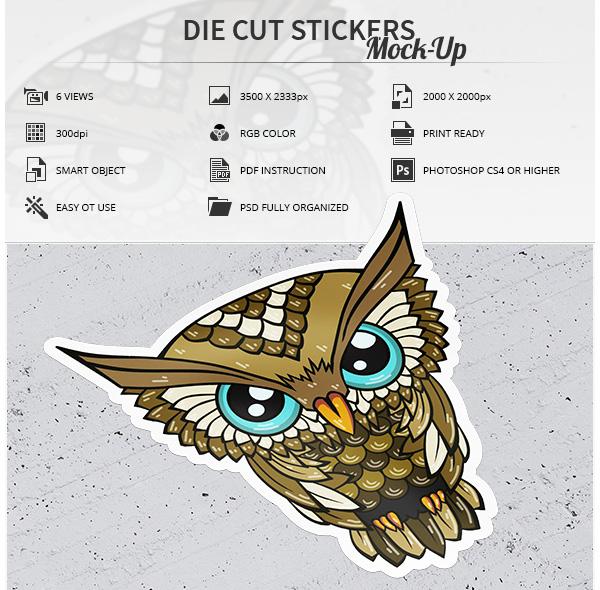 Die Cut Stickers Mock-Up