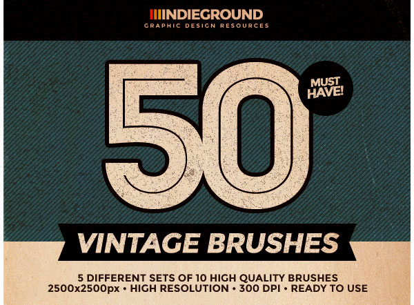 50 Vintage Brushes Set Vol 2