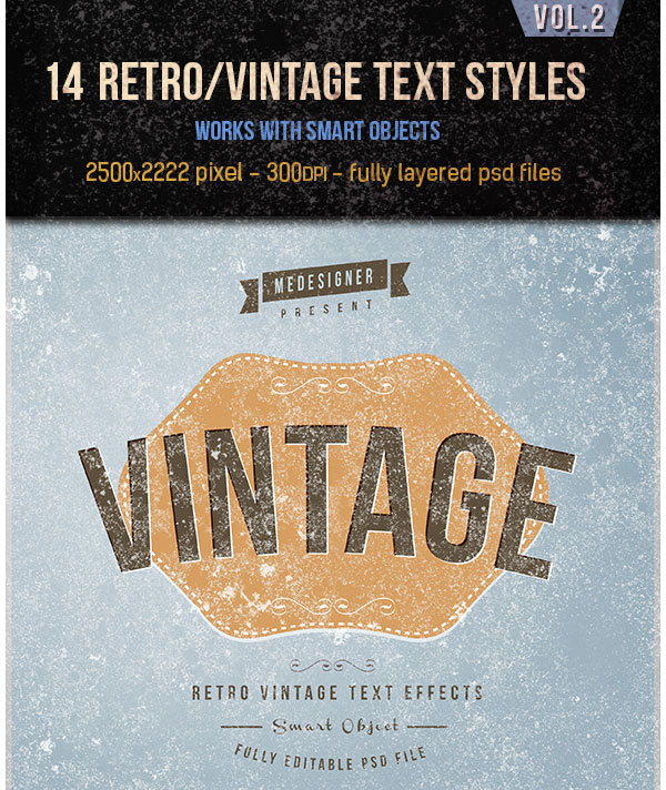 14 Retro  Vintage Text Effects V2