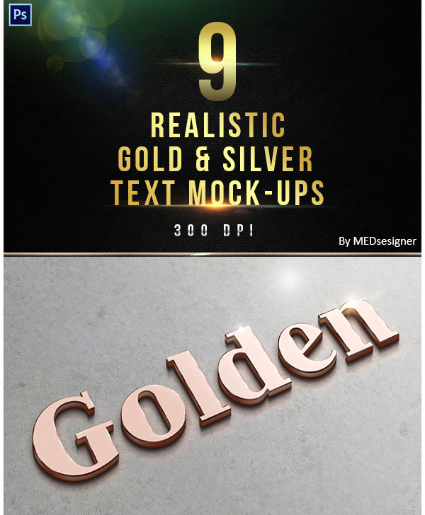 9 3D Realistic Gold  Silver Text Mock-ups