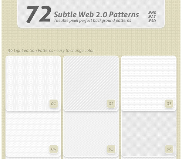 72 Subtle Web 20 Patterns
