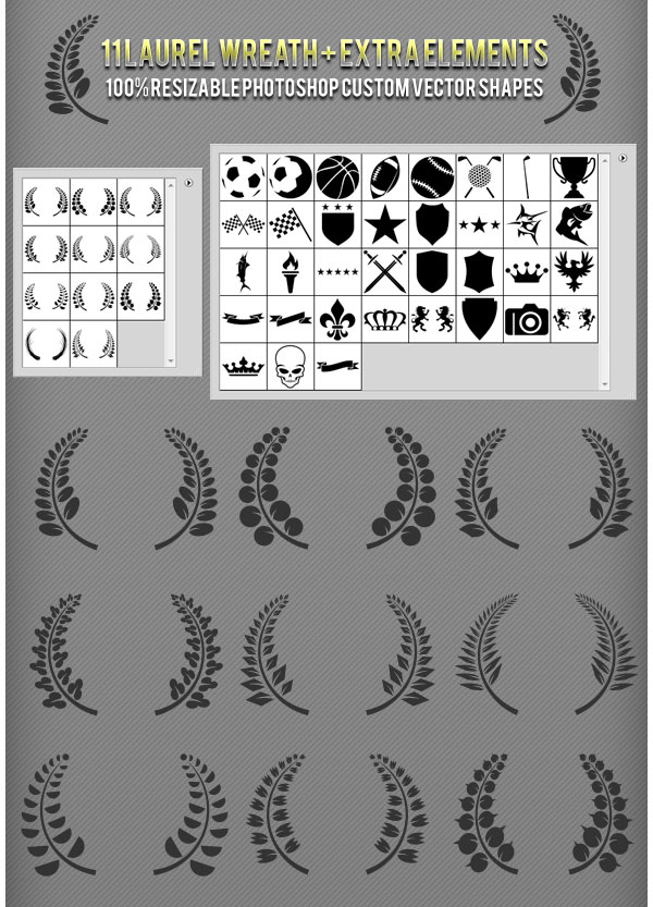 Laurel Wreath Photoshop Custom Shapes