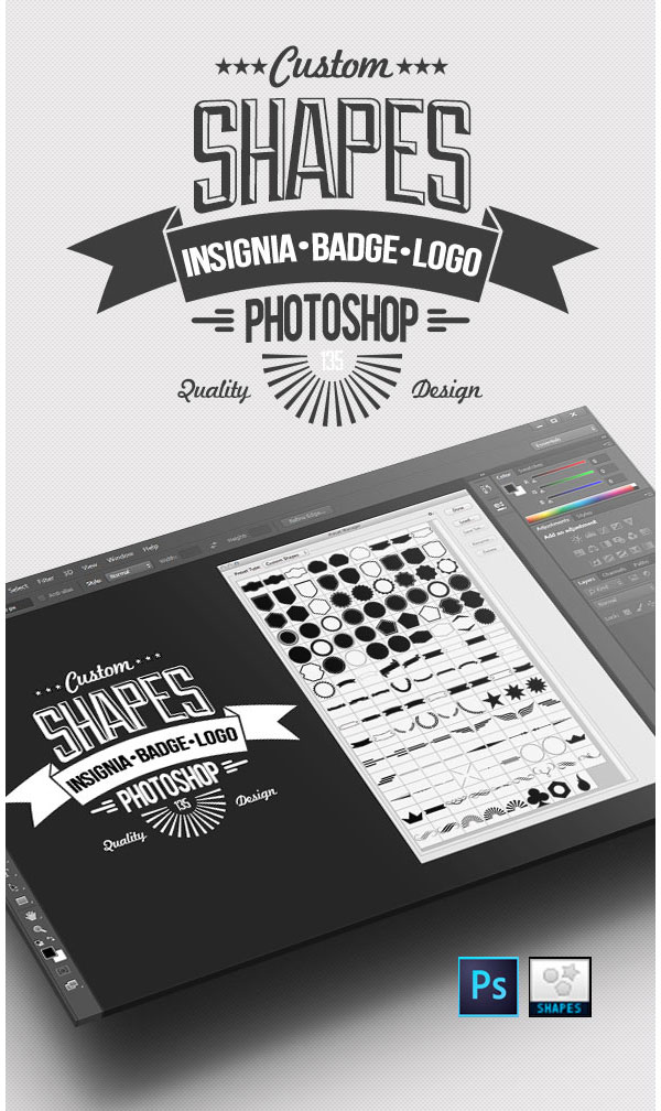 135 Insignia Badge and Logo Custom PSD Shapes