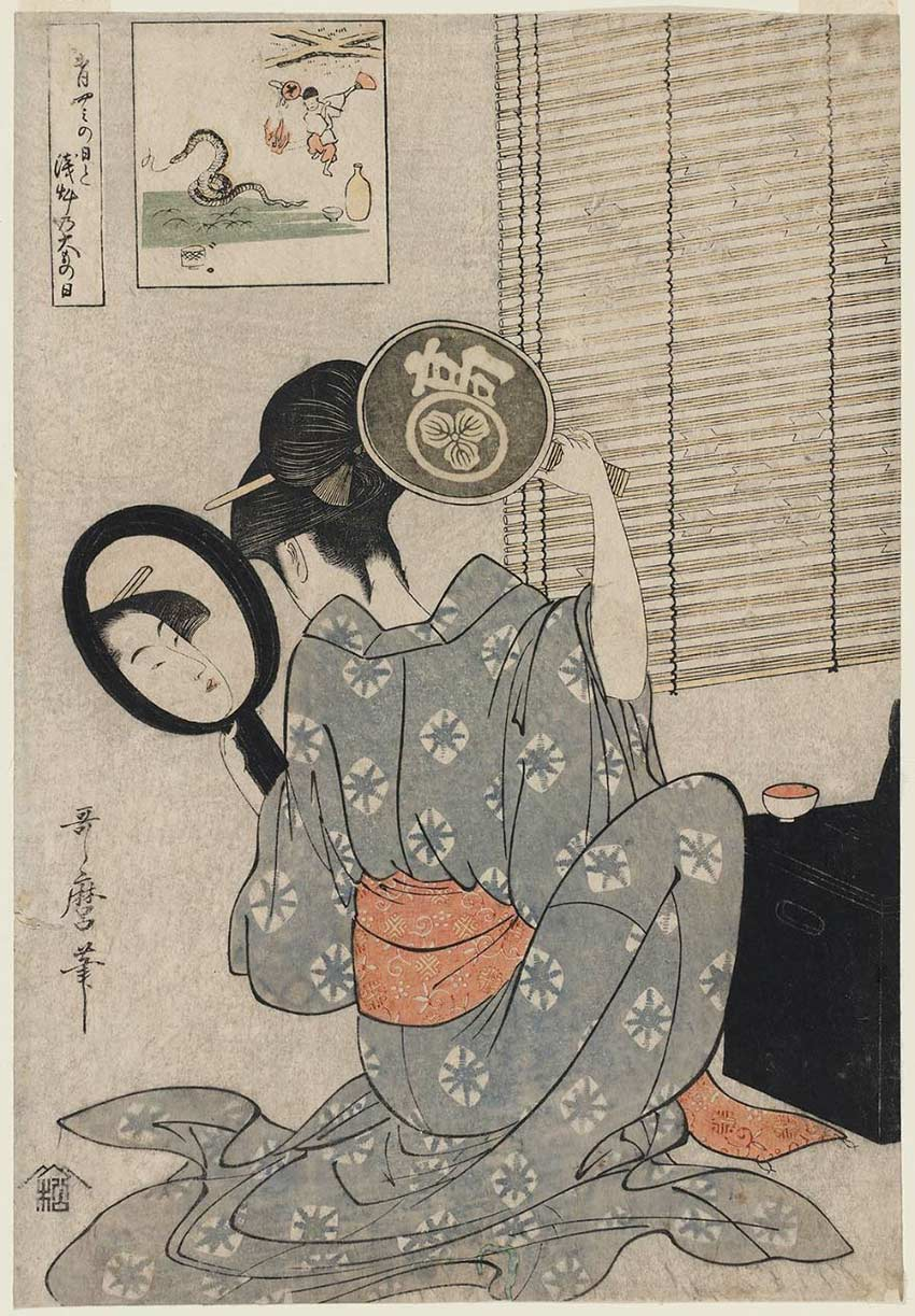 Takashima Ohisa using two mirrors to observe her coiffure night of the Asakusa Marketing Festival
