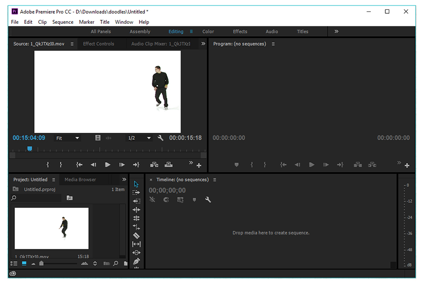 import your video file into adobe premiere pro cc