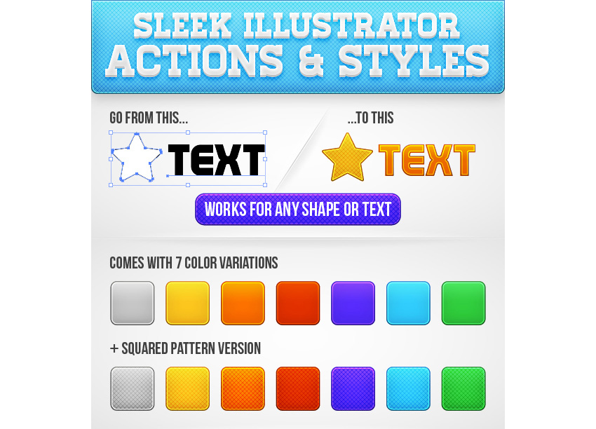 Sleek Illustrator Actions  Styles