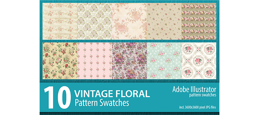 10 Vintage Floral Pattern Illustrator Swatches