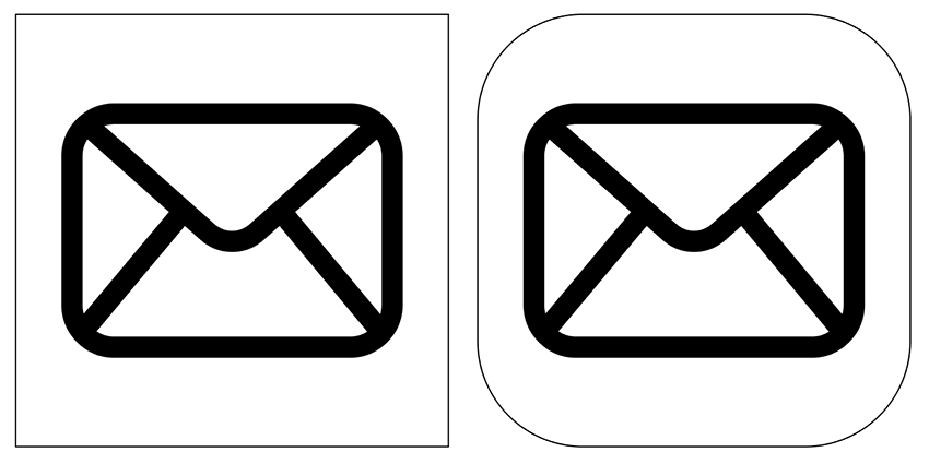 Draw a rectangle around your envelope to create the icon base