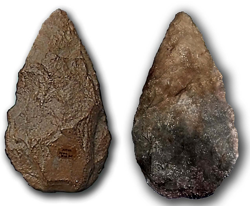 Lower paleolithic hand axes made from quartzite Image via Wikimedia