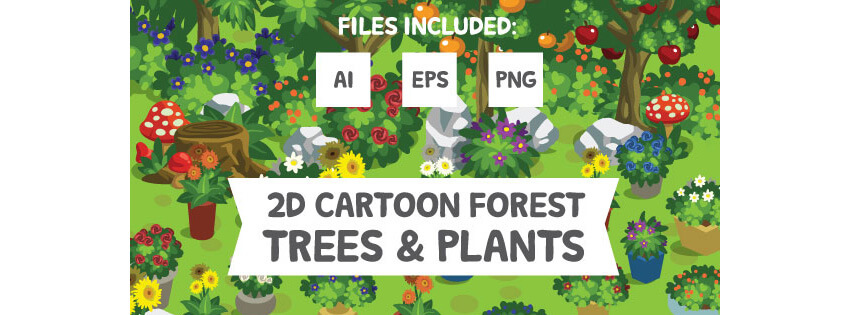 2D Cartoon Forest Trees  Plants
