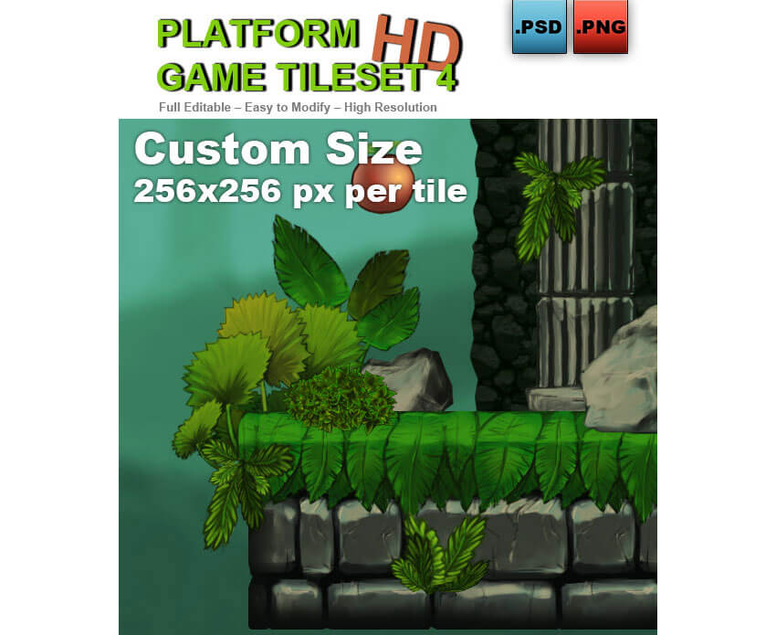 Platform Game Tileset 4 Abandoned Castle
