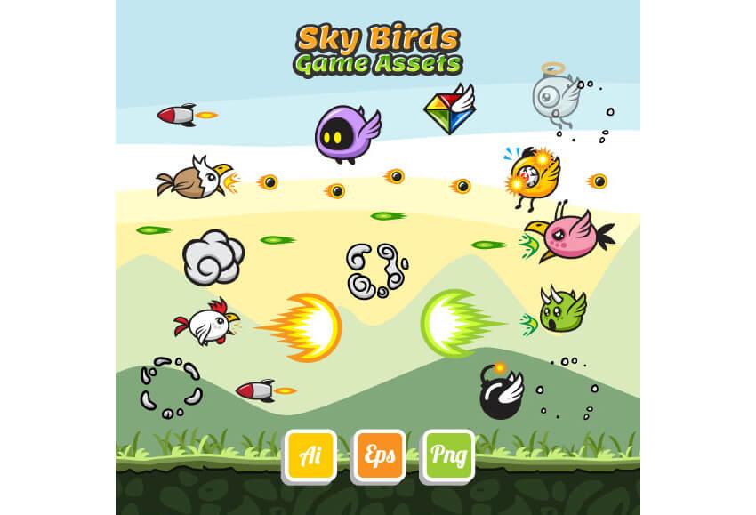 Sky Birds Game Assets