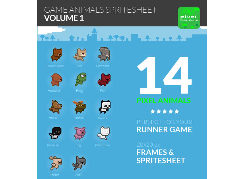 Game Animals Sprite Sheet  Volume 1