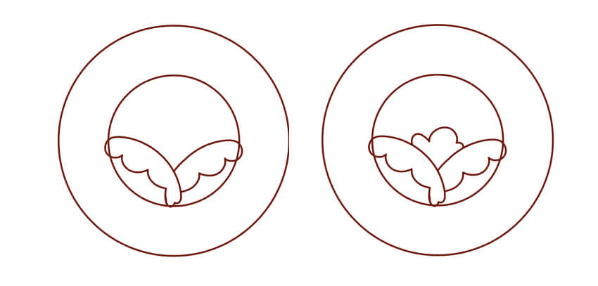 draw a puffy cloud-like shape between the petals for the center of the rose
