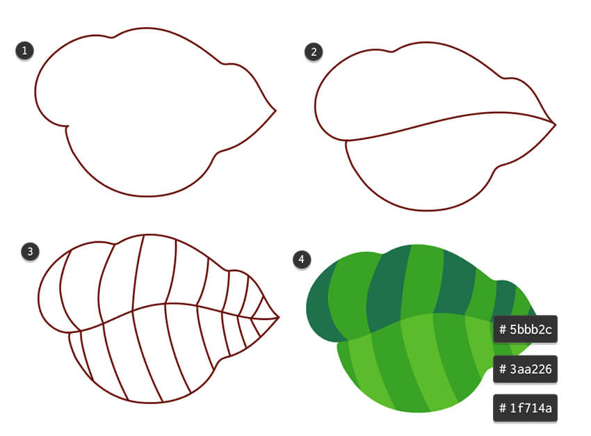 Draw large leaves and use alternating colors