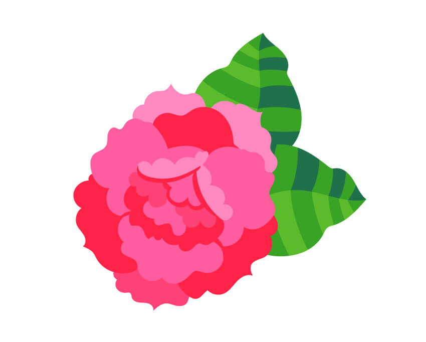 Combine your rose and large leaves to create the first flower for your design