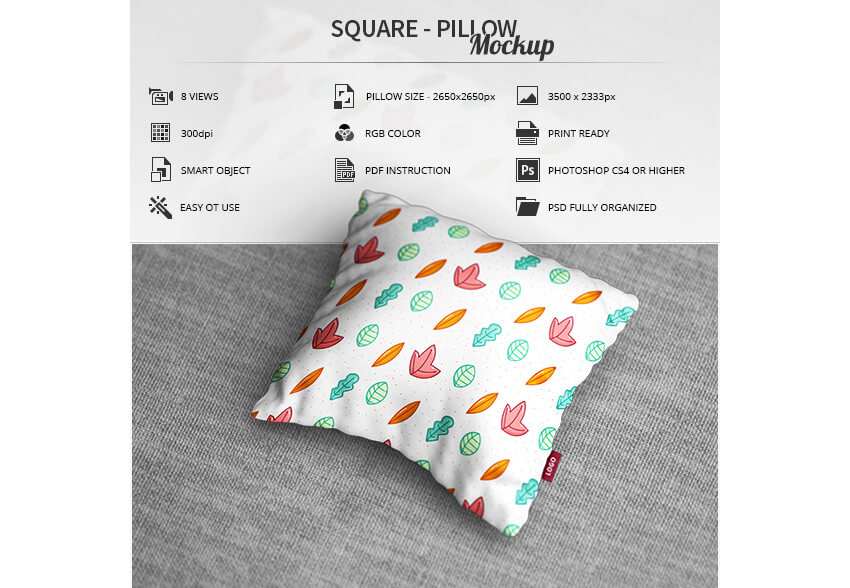 Square - Pillow Mockup