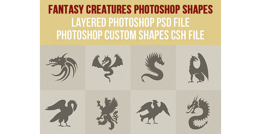 Fantasy Creatures Photoshop Shapes
